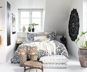 bed room, chandelier, and cute room image