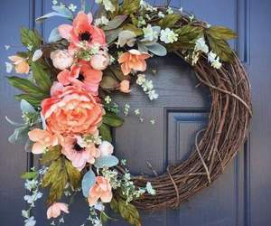 door and flowers image