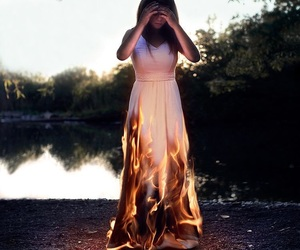 fire, girl, and fantasy image