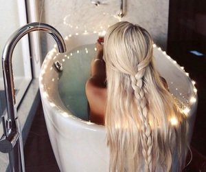 hair, blonde, and bath image