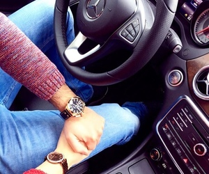 car, holding hands, and mercedes image