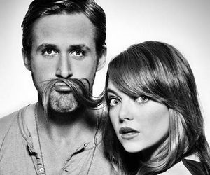 emma stone, ryan gosling, and black and white image