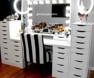 black and white, makeup, and vanity image