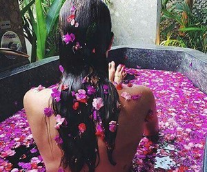 bath time, hair, and pink flowers image