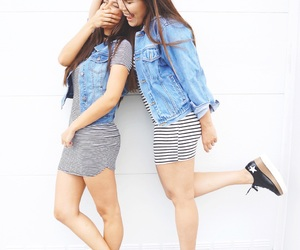 best friends, happiness, and outfit image