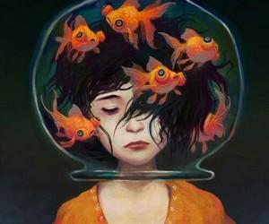fish, art, and orange image
