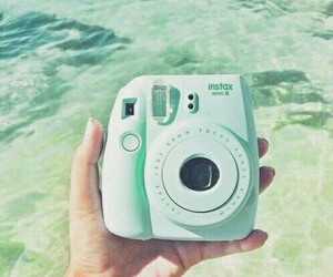 polaroid, camera, and green image