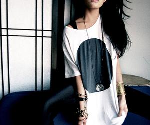 girl, shirt, and circle image