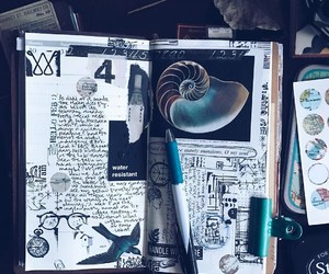 art, blue, and journal image
