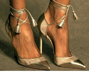 gold, high heels, and manolo blahnik image