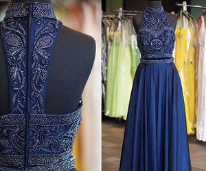 blue prom dresses, high neck prom dresses, and charming prom dresses image