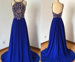 long chiffon prom dresses, royal blue prom dresses, and backless prom dresses image