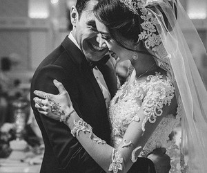 black and white, bride, and happy day image