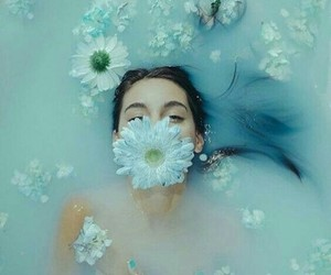 flowers, blue, and girl image