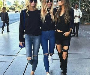 blonde hair, love, and jeans image