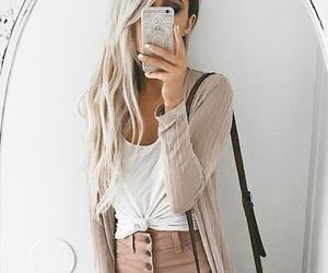 brown, cardigan, and spring image