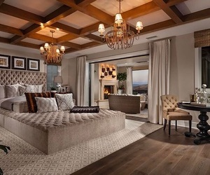 bedroom, furnitures, and glam image