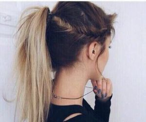 beautiful hair, black tee, and ponytail image