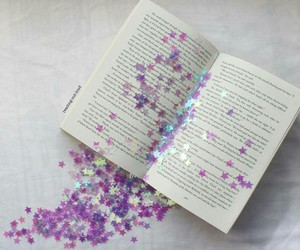 book, stars, and purple image