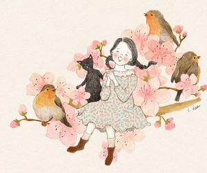 bird, cat, and flower image