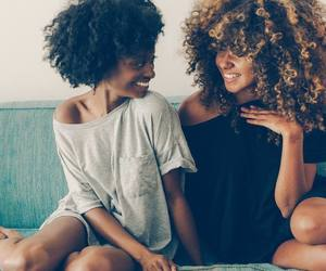 curly hair, big curly hair, and friendship image