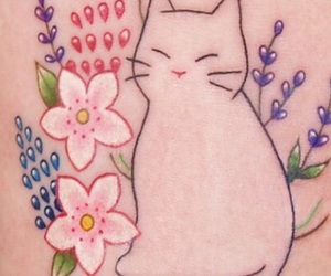 cats, flowers, and Tattoos image