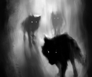 wolf, art, and dark image