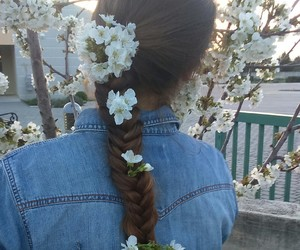 flower, hair, and nature image