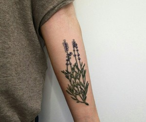 tattoo, flowers, and plants image
