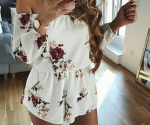 jumpsuit, flowers, and summer image