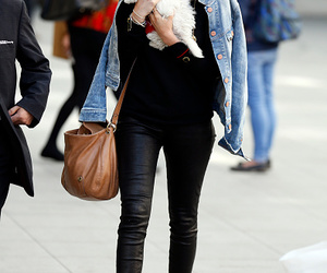 black, leather pants, and style image