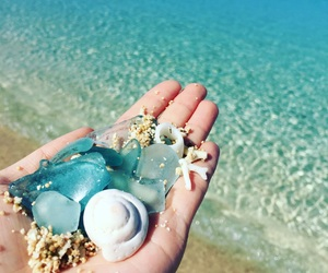 beach, blue, and glass image