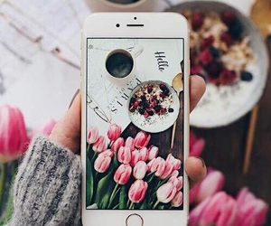 breakfast, coffee, and flowers image