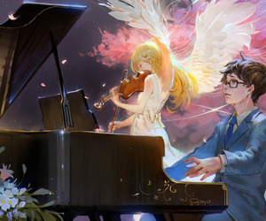 anime, piano, and shigatsu wa kimi no uso image