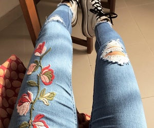 converse, fitness, and jeans image