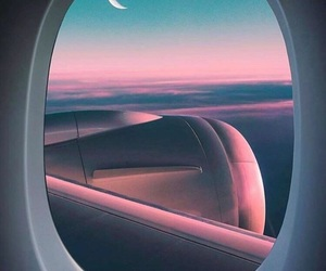 sky, airplane, and moon image