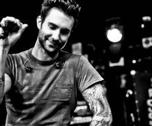 adam levine, black and white, and maroon 5 image