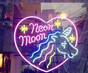 unicorn, neon, and light image