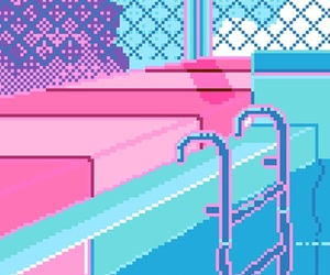 pixel, pool, and wallpaper image