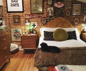 bed, bedroom, and brick wall image