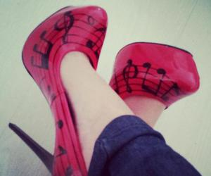 shoes, music, and red image
