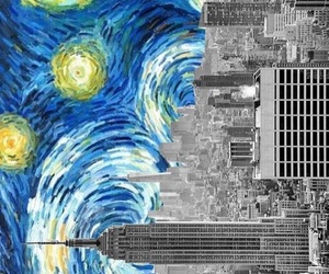 starry night, city, and vincent van gogh image