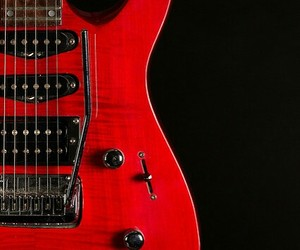 electric guitar, guitar, and red image