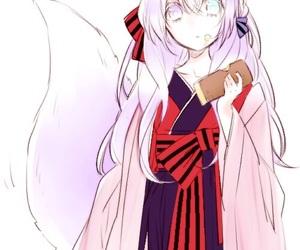 anime girl, fox, and kitsune image