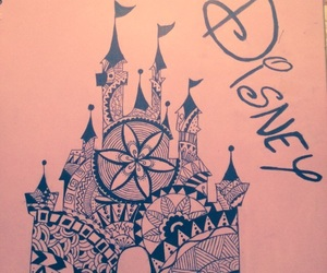 castle, disney, and drawings image