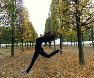 brunette, jump, and girl image
