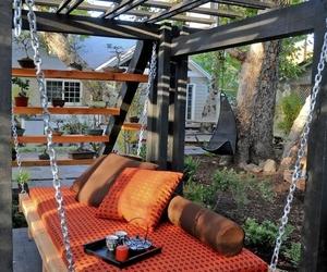 garden, swing, and diy image