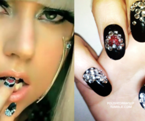 Lady gaga, nail art, and poker face image
