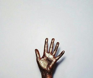 hand, gold, and glitter image
