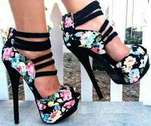 black, flowers, and heels image
